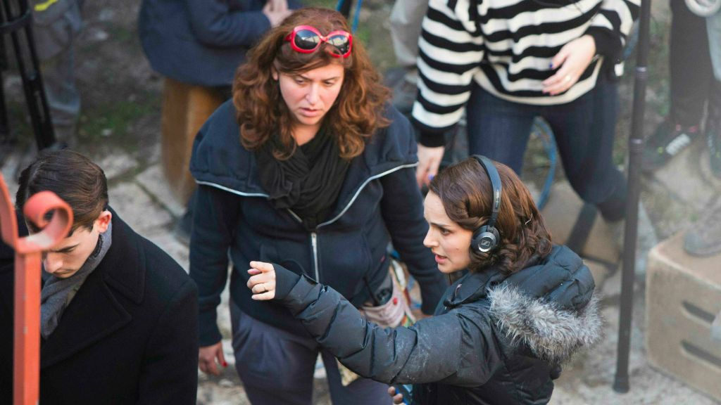 Natalie Portman, lower right, directing her adaptation of Amos Oz's autobiographical novel, 'A Tale of Love and Darkness,' on the streets of Jerusalem last year (Yonatan Sindel/Flash 90)