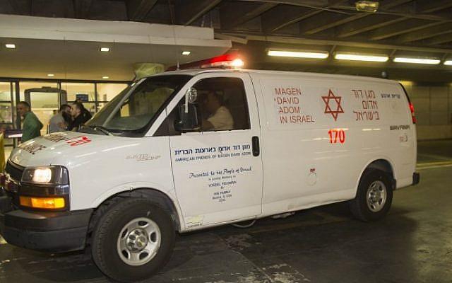 An illustrative photo of a Magen David Adom ambulance. (Yonatan Sindel/Flash90)