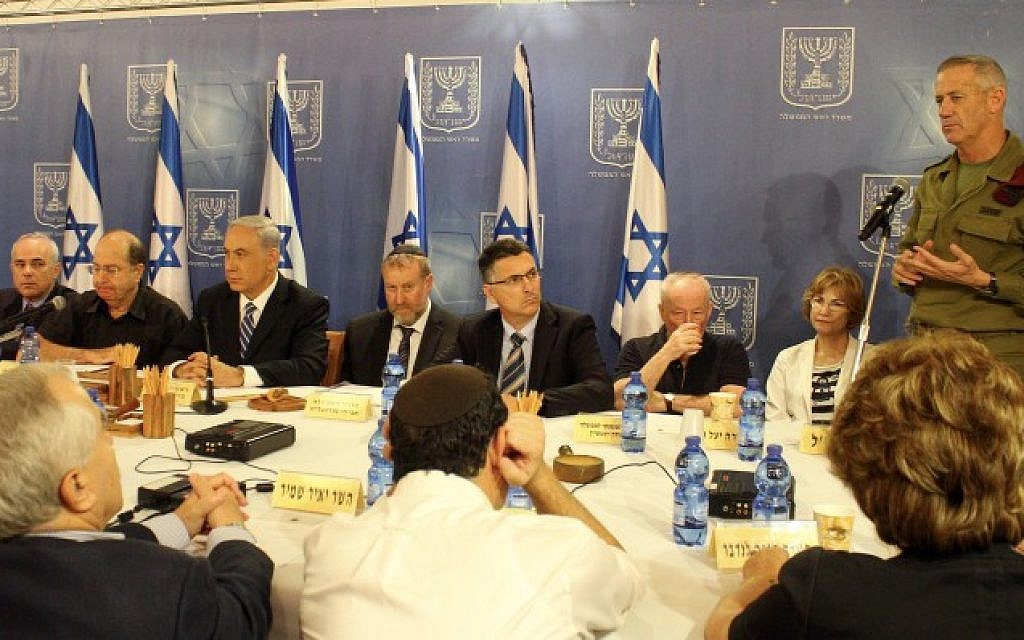 IDF Chief of Staff Benny Gantz briefs Israeli cabinet ministers during the conflict with Gaza, July 18, 2014 (Photo by Flash90)