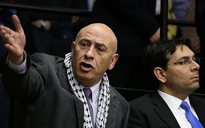 Arab Israeli parliament member MK Basel Ghattas of the Joint (Arab) List in the Knesset, February 12, 2015. (Hadas Parush/Flash90)