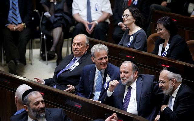 Michael Oren of the Kulanu party at the swearing in ceremony for the 20th Knesset, on March 31, 2015. (Photo by Miriam Alster/Flash90)
