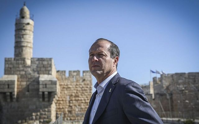 Jerusalem Mayor Nir Barkat seen on top of the Tower of David Museum, on April 14, 2015. (Hadas Parush/Flash90)