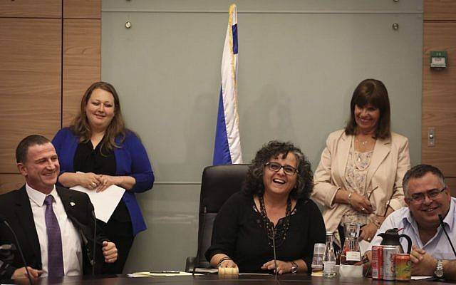 Arab Joint List MK, Aida Touma-Sliman, center, and Knesset Chairman Yuli Edelstein, left, seen during the Committee on the Status of the Women meeting at the Knesset on June 3, 2015. (Photo credit: Hadas Parush/Flash90)