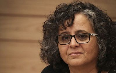Joint (Arab) List MK Aida Touma-Sliman in the Knesset, June 3, 2015. (Hadas Parush/Flash90)