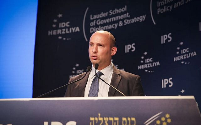 Minister of Education Naftali Bennett speaks at the Herzliya Conference, June 7, 2015. (Flash90)