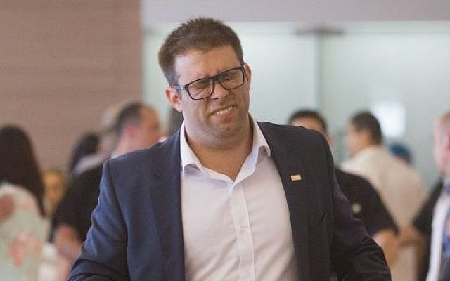 Likud MK Oren Hazan arrives at a Likud party meeting at the Knesset, Israel's parliament in Jerusalem on June 08, 2015. (Miriam Alster/Flash90)