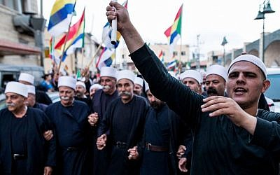 Israeli Druze in the village of Yarka attend a demonstration in support of Syrian Druze communities threatened by that country's civil war, June 14, 2015. (Basel Awidat/Flash90)