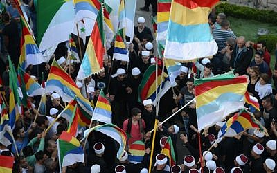 Israeli Druze from the village of Majdal Shams attend a demonstration in support of their Syrian Druze brothers in northern Israel on June 15, 2015 (Jule Gamal/Flash90)