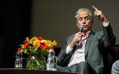 Michael Douglas at the Cinematheque, before the Genesis Prize ceremony Thursday evening (Johana Garon/Flash 90)