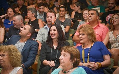 Minister of Culture Miri Regev (center) at an award ceremony for Israeli theater, in Tel Aviv, on June 19, 2015. (Photo by FLASH90)