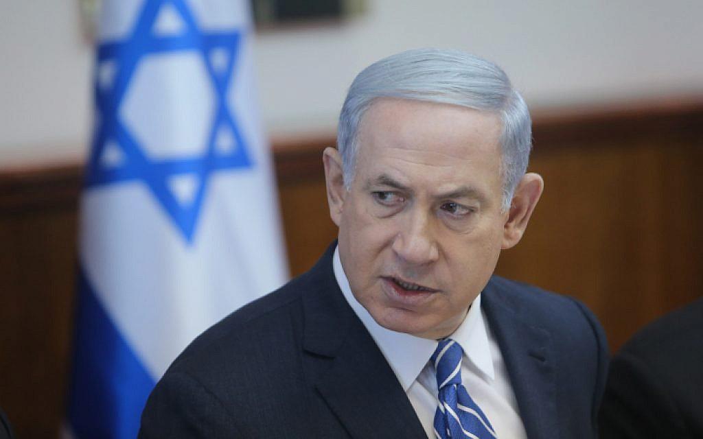Prime Minister Benjamin Netanyahu speaks at the weekly cabinet meeting in Jerusalem, on June 21, 2015. (Alex Kolomoisky/POOL)