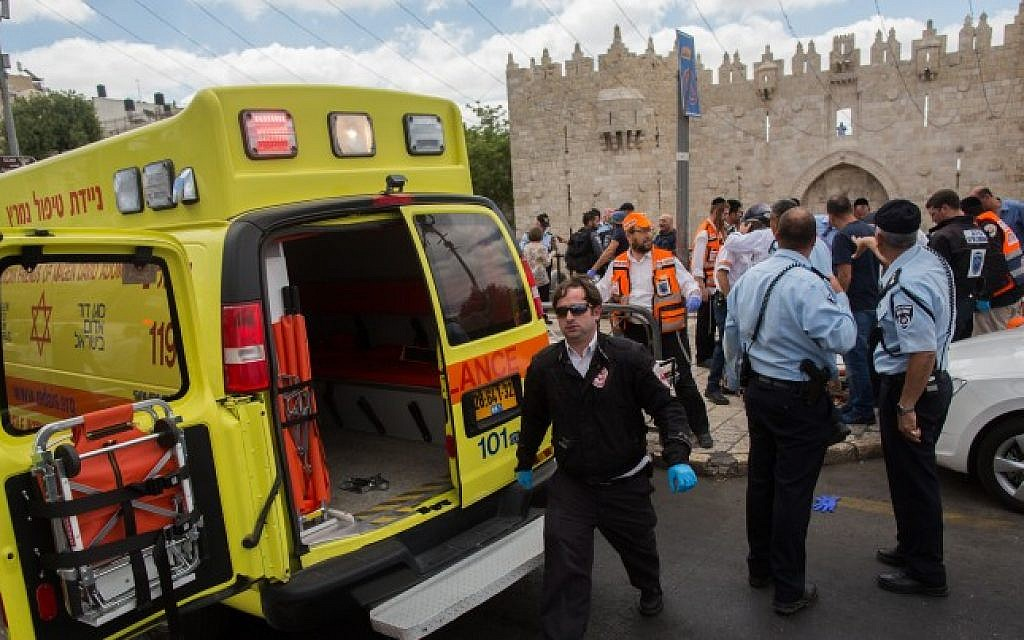 The site where a Palestinian man stabbed an Israeli Border Police officer near Damascus Gate in Jerusalem's Old City, June 21, 2015. (Yonatan Sindel/Flash90)