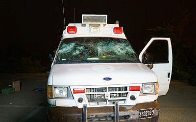 The IDF ambulance attacked by Druze Israeli residents in the Golan Heights as it ferried Syrian war casualties for medical treatment in Israel, June 22, 2015. (Basel Awidat/Flash90)