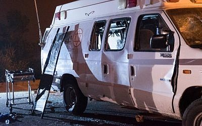 An IDF ambulance that was attacked by Druze Israeli residents in the Golan Heights as it ferried Syrian war casualties into Israel for medical treatment, June 22, 2015. (Basel Awidat/Flash90)