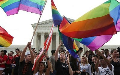 Same-sex marriage supporters celebrate outside the Supreme Court on June 26, 2015. (JTA/Alex Wong/Getty Images)