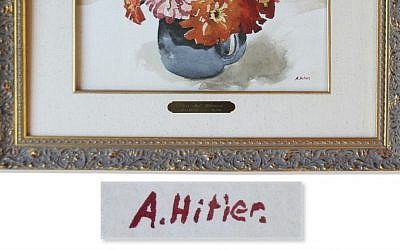 Adolf Hitler's signature on a painting he did in 1912. (Courtesy Nate D. Sanders catalog)