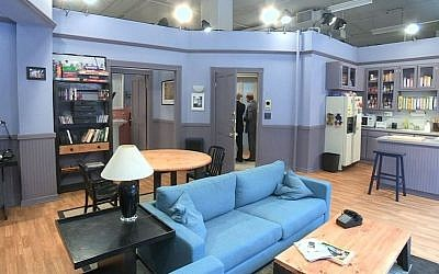 "This June 23, 2015 image from video shows a replica of the set from Jerry Seinfeld's apartment from the NBC sitcom ""Seinfeld,"" in New York, created by the streaming service Hulu. Hulu made all nine seasons available on Wednesday. (AP/Bruce Barton)"