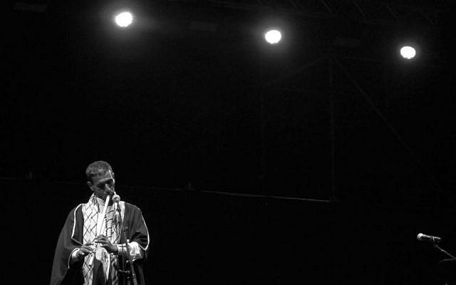 A Bedouin flutist preforms at the concert (courtesy/Noam Ekhaus)