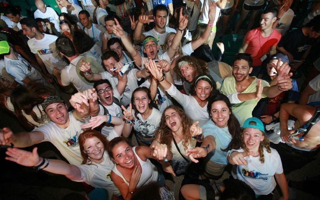 Participants celebrate Taglit-Birthright Israel's 15th anniversary, Tel Aviv, June 2015. (Courtesy)