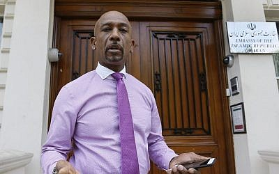American television personality Montel Williams speaks to media outside the Iranian Embassy in London, June 26, 2015 (AP Photo/Kirsty Wigglesworth, File)