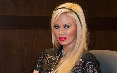 Former adult actress Jenna Jameson promoting her erotic novel 'Sugar' on October 25, 2013 at a Barnes and Noble in Los Angeles, California. (Valerie Macon/Getty Images, via JTA)