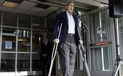 US Secretary of State John Kerry speaks to the media as he is discharged from Massachusetts General Hospital Friday, June 12, 2015, in Boston (AP/Elise Amendola)
