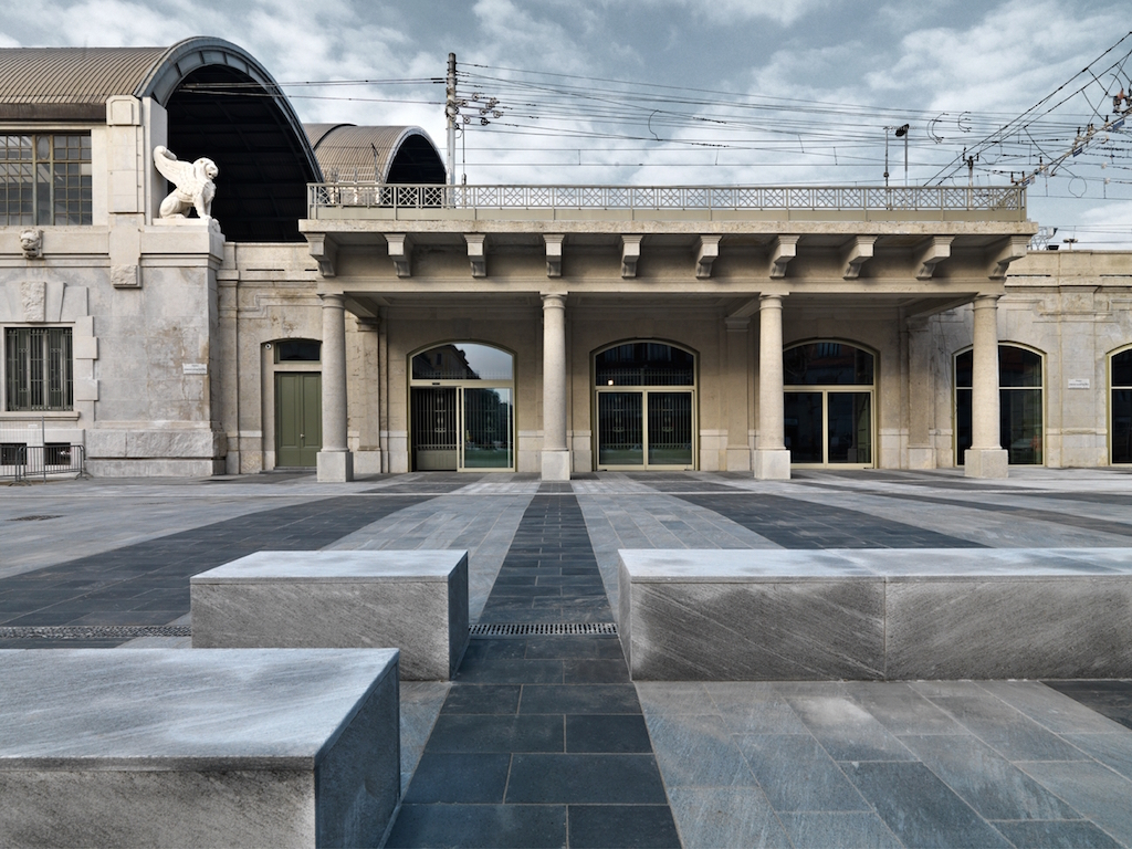 A June 22, 2015 exterior of Milan's Holocaust Memorial at the site of the notorious Platform 21, where Jews were deported to death camps during World War II. (courtesy)