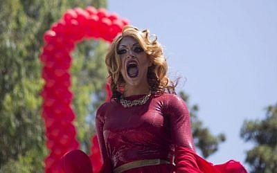 A drag queen sings during the annual Gay Pride Parade in Tel Aviv, Israel, Friday, June 12, 2015. (AP/Ariel Schalit)