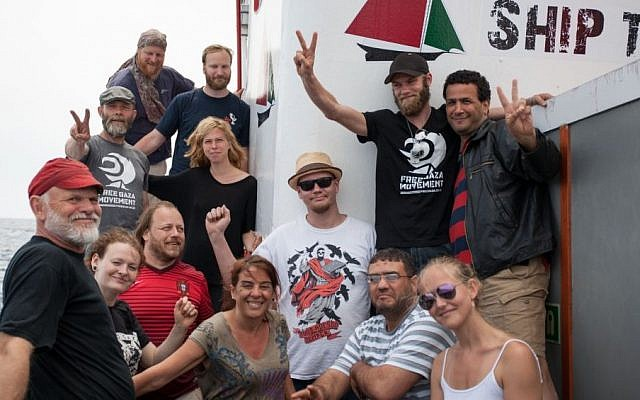 File: Crew members aboard the Marianne ship (Pablo Miranzo , Ship to Gaza-Sweden, via AP)