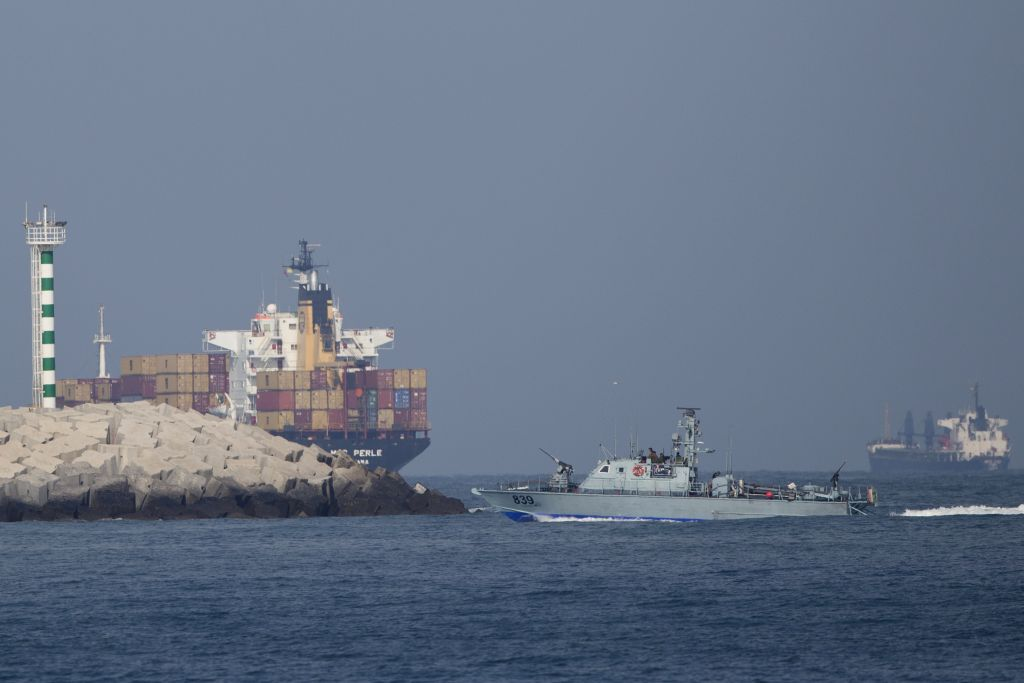 An Israeli naval battle ship sails back to the Ashdod port in Israel off the coast of the Mediterranean sea on June 29, 2015. (Ariel Schalit/AP)