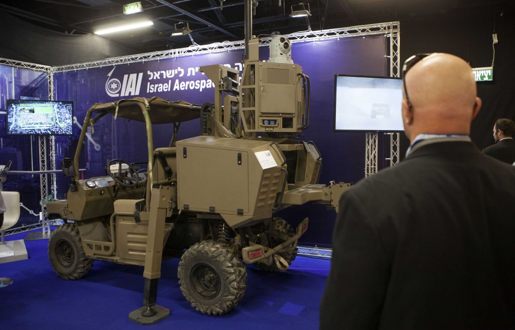 An Israeli surveillance vehicle is exhibited at an expo of Israeli intelligence-gathering technology in Tel Aviv, Israel, Tuesday, June 30, 2015. (AP Photo/Dan Balilty)