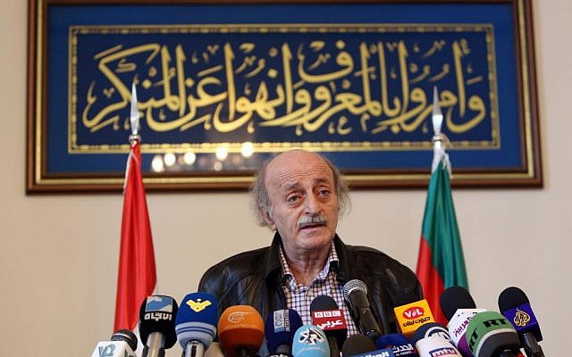 Walid Jumblatt, the political leader of Lebanon's minority Druze sect, speaks during a press conference after a meeting of the Druze community's religious leadership in Beirut, Lebanon, Friday, June 12, 2015. (AP Photo/Bilal Hussein)