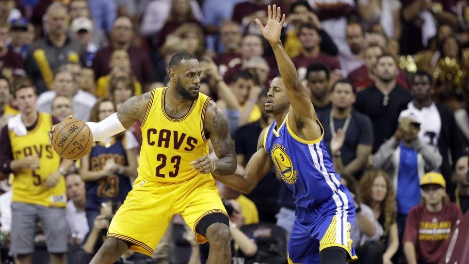 Cleveland Cavaliers Forward LeBron James 23 Drive Son Golden State Warriors Guard Andre Iguodala