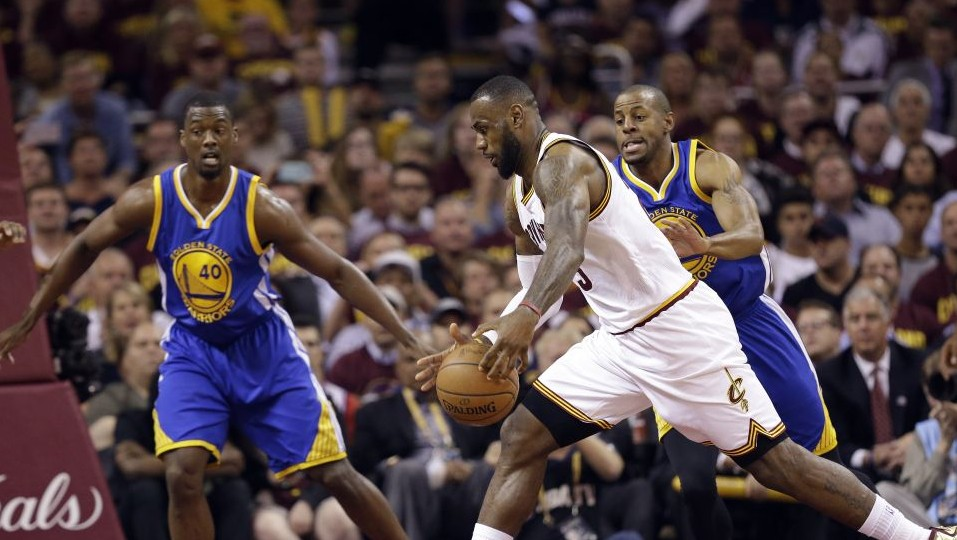 a5c6869a9 Cleveland Cavaliers forward LeBron James (23) drives on Golden State  Warriors forward Harrison Barnes