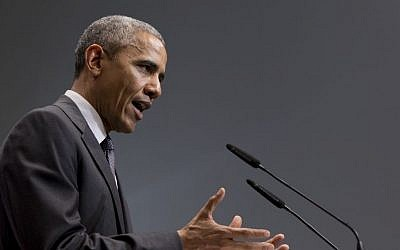 US President Barack Obama speaks during a news conference at the G-7 summit in the Schloss Elmau Hotel near Garmisch-Partenkirchen, southern Germany, June 8, 2015. (AP/Carolyn Kaster)