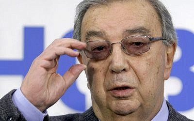 In this Feb. 28, 2011 file photo, former prime minister Yevgeny Primakov speaks at a news conference in Moscow, Russia. (AP Photo/Misha Japaridze, File)