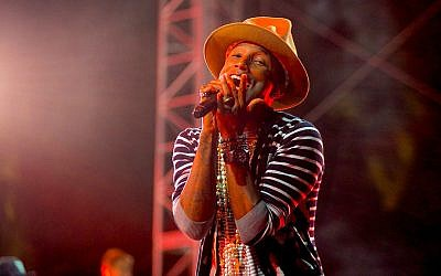 Pharrell Williams, park ranger hat firmly in place, performing at a recent Coachella Valley Music festival (Courtesy Shawn Ahmed/CC BY 2.0)