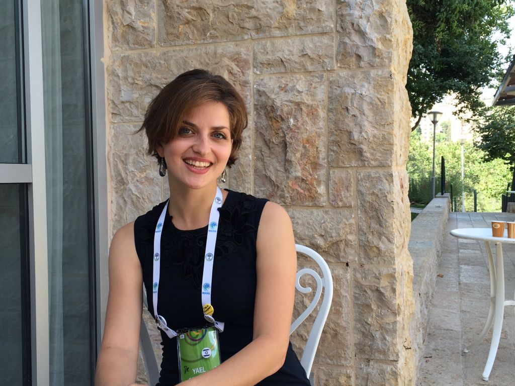 Yael Schuster, a PhD in organic chemistry, is the head of a  start-up, the Know-It-Alls, which makes science toys for girls ages eight to 12. (Luke Tress/The Times of Israel)