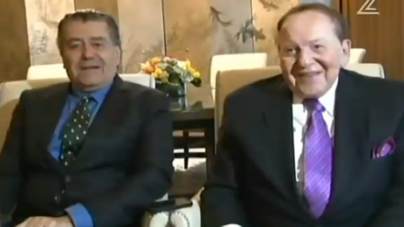 Haim Saban and Sheldon Adelson in a TV interview from Las Vegas, June 6, 2015 (Channel 2 screenshot)