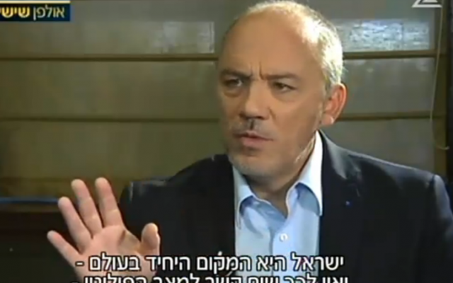 Stephane Richard, CEO of Orange, interviewed by Israel's Channel 2 on June 12, 2015 (Channel 2 screenshot)