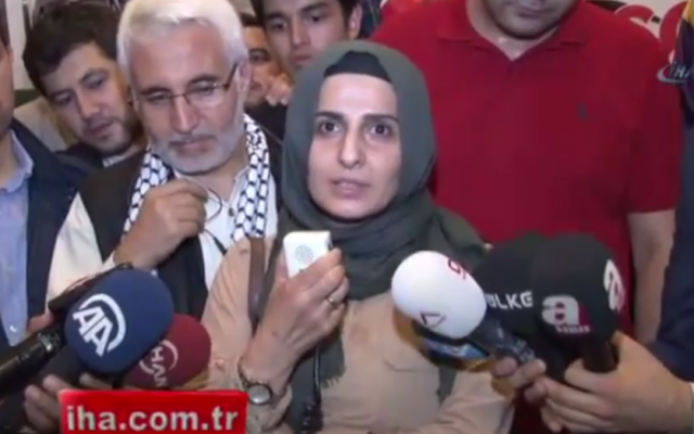 Turkish journalist Halime Kökçe speaks to local media at Ataturk Airport in Istanbul on June 26, 2015 after being denied entry to Israel. (Screen grab: YouTube).