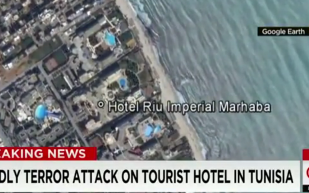 Google Earth view of scene of Tunisia terror attack, June 26, 2015 (CNN screenshot)
