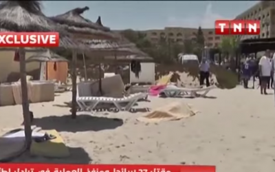 Bodies on a Tunisian beach in the immediate aftermath of a June 26, 2015 terrorist attack (YouTube screenshot)