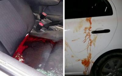 An Israeli vehicle hit by gunfire near the West Bank settlement of Shvut Rachel, north of Ramallah, June 29, 2015. (Courtesy: Israel Hatzolah)