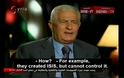 Fatah Central Committee member Abbas Zaki speaks on Syrian News TV on June 2, 2015. (Screen capture: MEMRI)