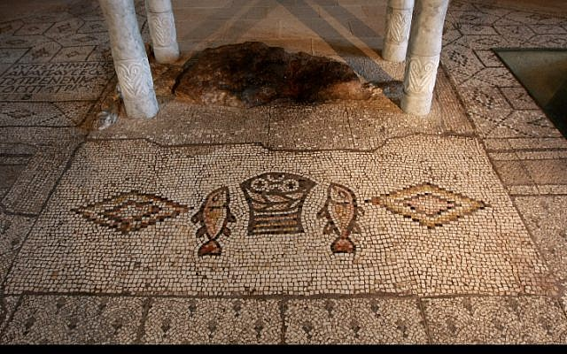 Mosaics preserved from the Byzantine period at the Church of the Multiplication of the Loaves and the Fishes at Tabgha, on the Sea of Galilee. (Rishwanth Jayapaul/FLASH90)