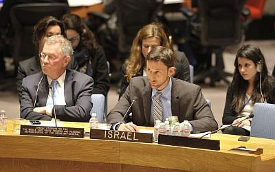 Yotam Goren, center, a member of the Israeli delegation to the United Nations. (Icourtesy)