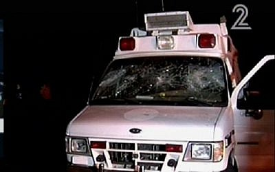 An ambulance attacked in the Golan Heights on June 22, 2015. (Screen capture: Channel 2)