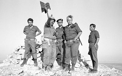 Ariel Sharon, second from right, as commander of an armored division in the Sinai during the Six Day War (Courtesy Israel Defense Force Archive)