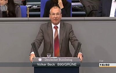 German parliamentarian Volker Beck of the Green Party (Screen capture: YouTube)